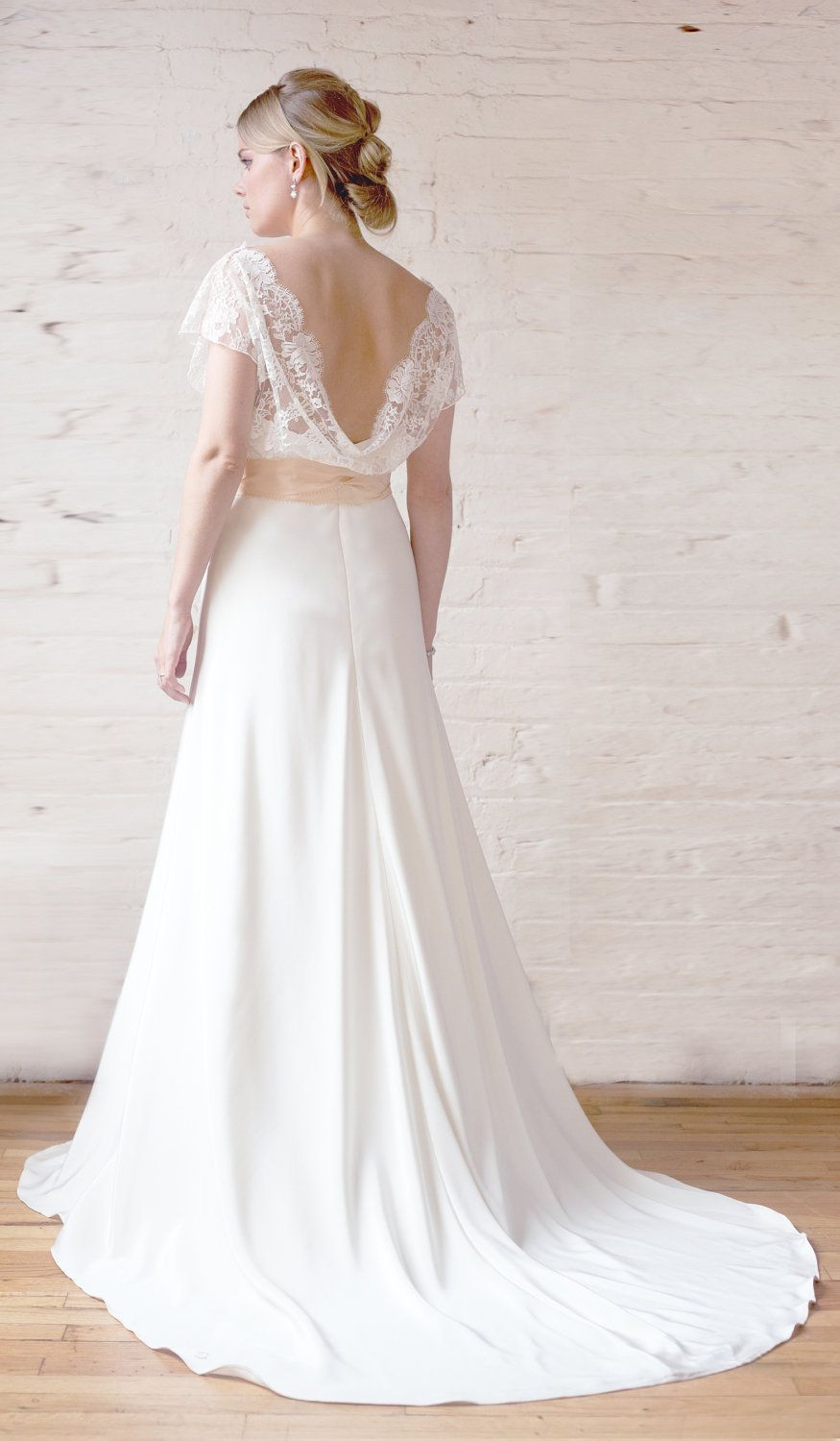 Cowl back lace wedding dress  Chantilly Lace and Silk Crepe Bias Wedding Gown SophieGrace V