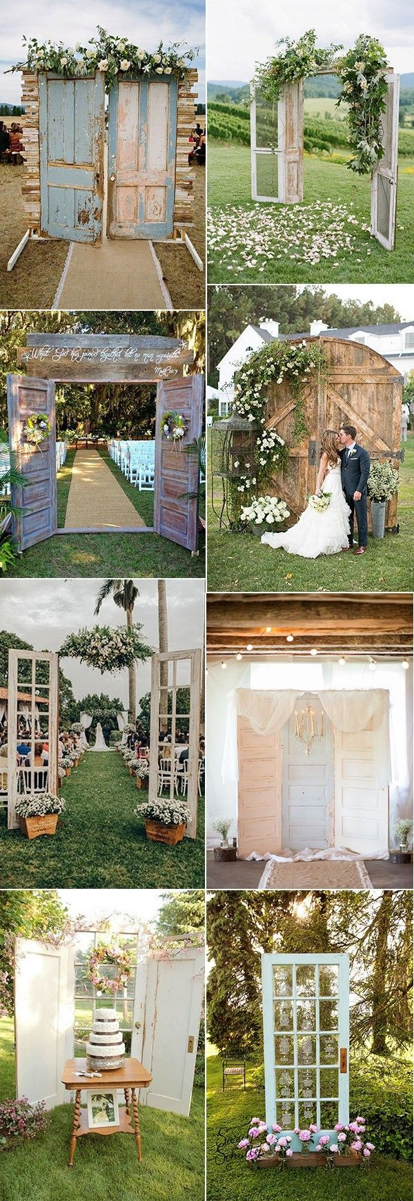 Garden wedding decoration ideas   Rustic Wedding Decoration Ideas with Vintage Doors  wedding