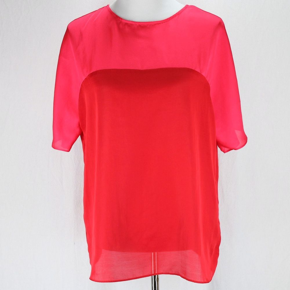 Coldwater Creek Shirt Sz S 8 Red Pink Color Block Short Sleeve Lightweight Top Coldwatercreek Red Valentinesday Clothes For Women Lightweight Tops Clothes