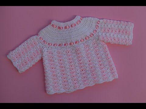 Como tejer saco y chaleco bebe a crochet (1 3) - YouTube  e42cc46b4de9