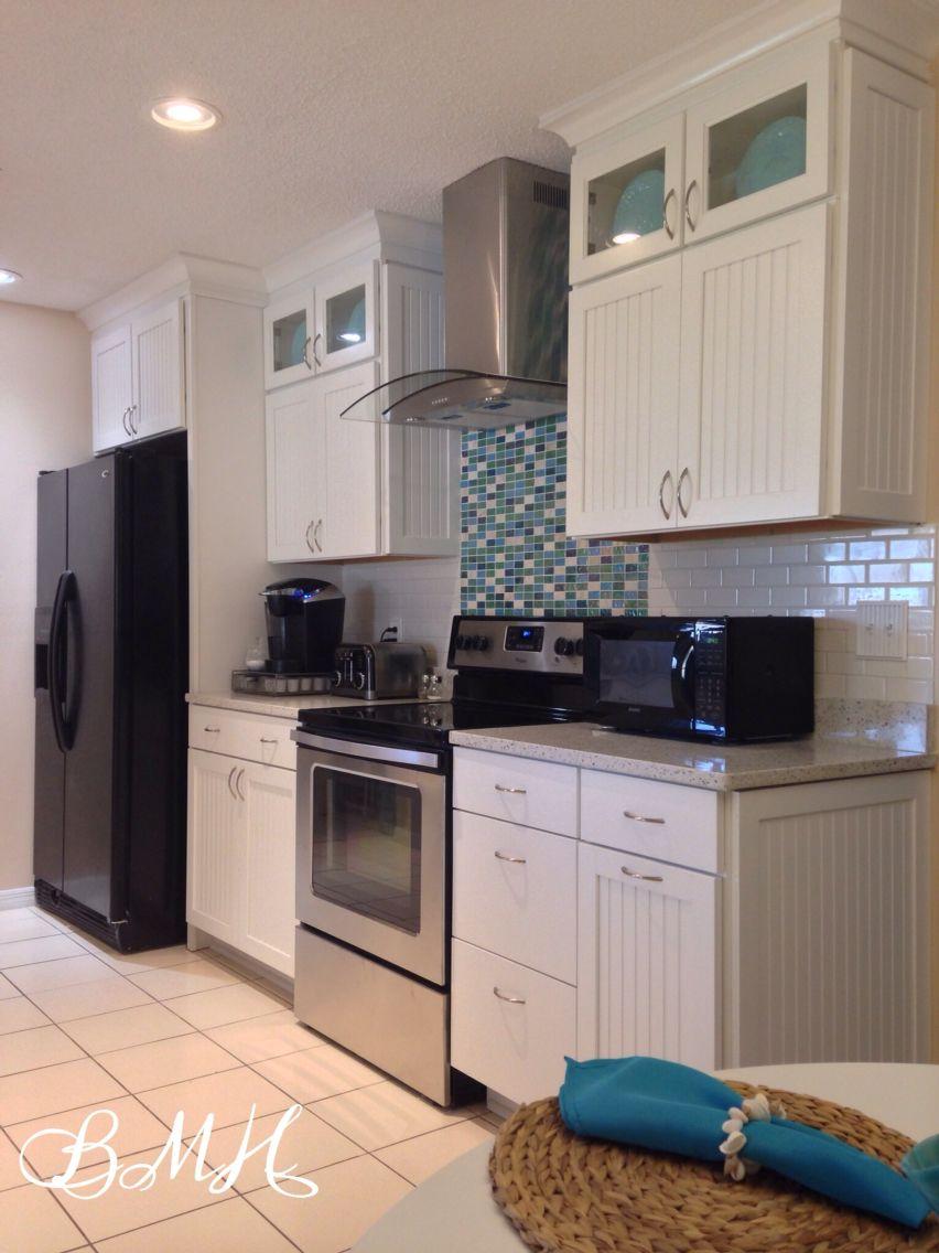 Coastal Kitchen White Cabinets Curava Savaii Quartz