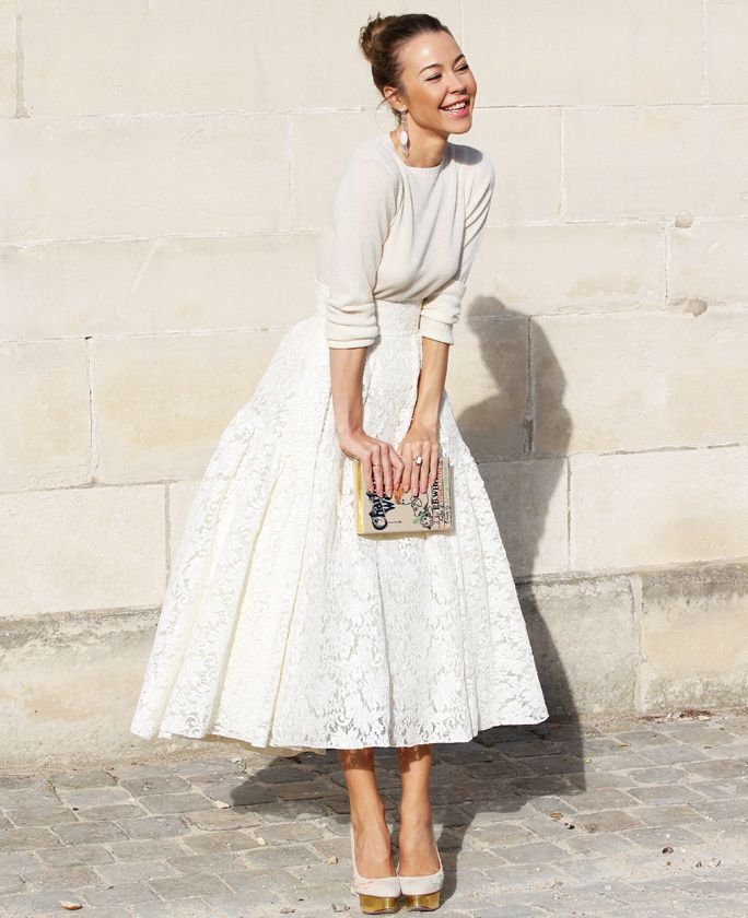 Street Style: The Midi Skirt | Need this! | Chic wedding dresses