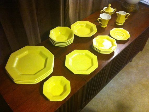 Independence Ironstone by Interpace / Nikko Classic Collection 20 Octagonal pieces in Daffodil #dishware Independence Ironstone by Interpace Vintage Dish ware in Daffodil Yellow 20 piece set $40.00. This is the set of dishes I grew up with. I remember the bowls were very shallow and spilled everything! #dishware