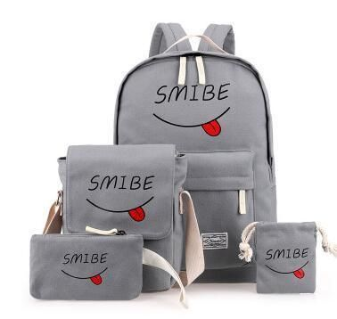9aaf361637 4Pcs Sets Korean Casual Women Backpacks Canvas Book Bags Cute Smibe Print  Schoolbag for Teenage Girls Composite Bag mochila