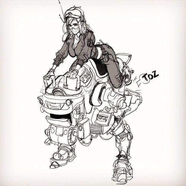 Today's lunch sketch #sketch #mech #girl #drawing #digitalart #characterdesign #robot #comics #cartoon #manga #pyroow