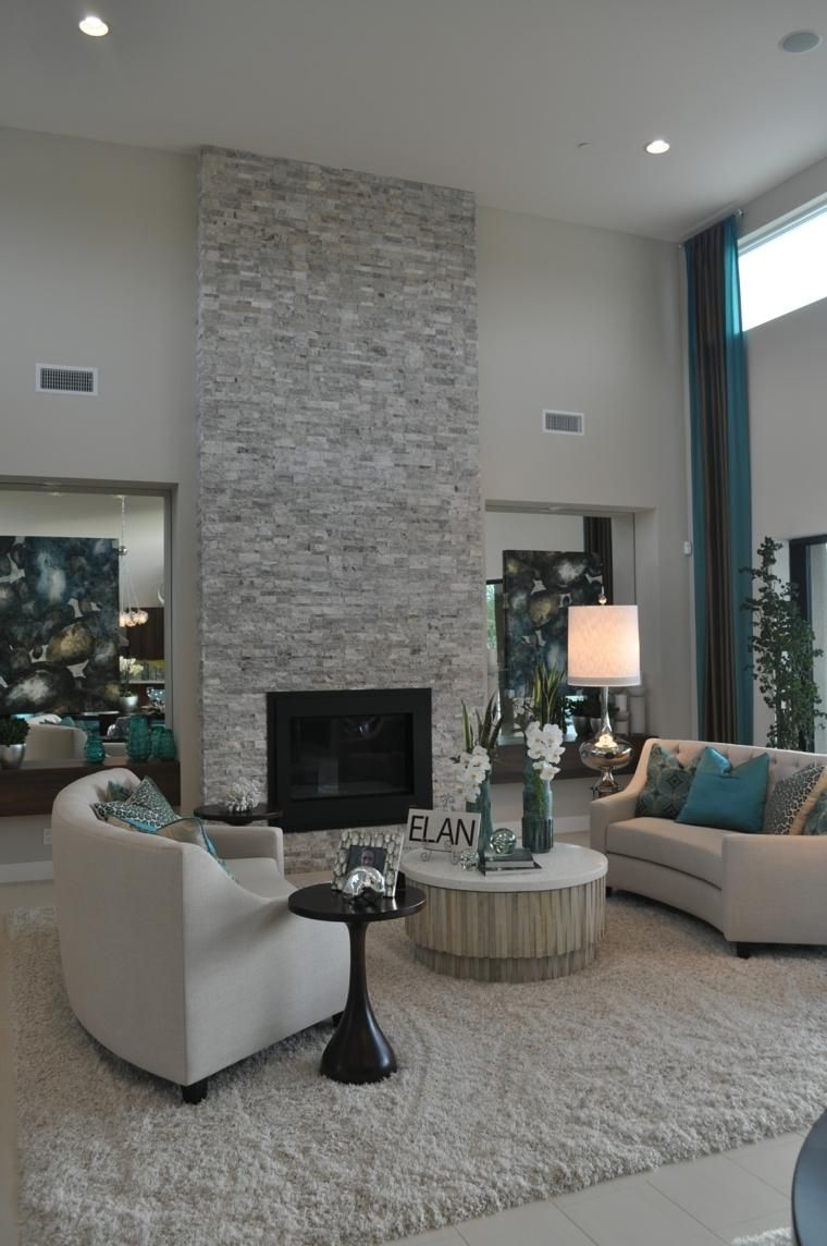 Photo Salon Moderne Gris Cheminée En Pierre Living Room With Fireplace Contemporary Living Room Trendy Living Rooms
