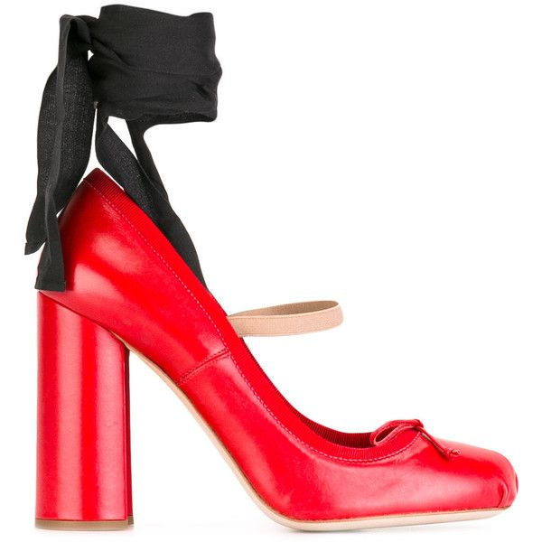 Miu Miu ankle strap pumps ($555) ❤ liked on Polyvore featuring shoes, pumps, red, ankle strap pumps, leather ankle strap shoes, leather footwear, red shoes and red leather pumps