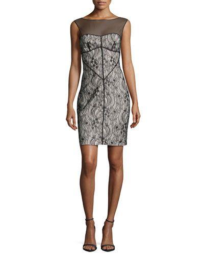 HALSTON HERITAGE Sleeveless Mesh-Inset Lace Dress, Black. #halstonheritage #cloth #dress