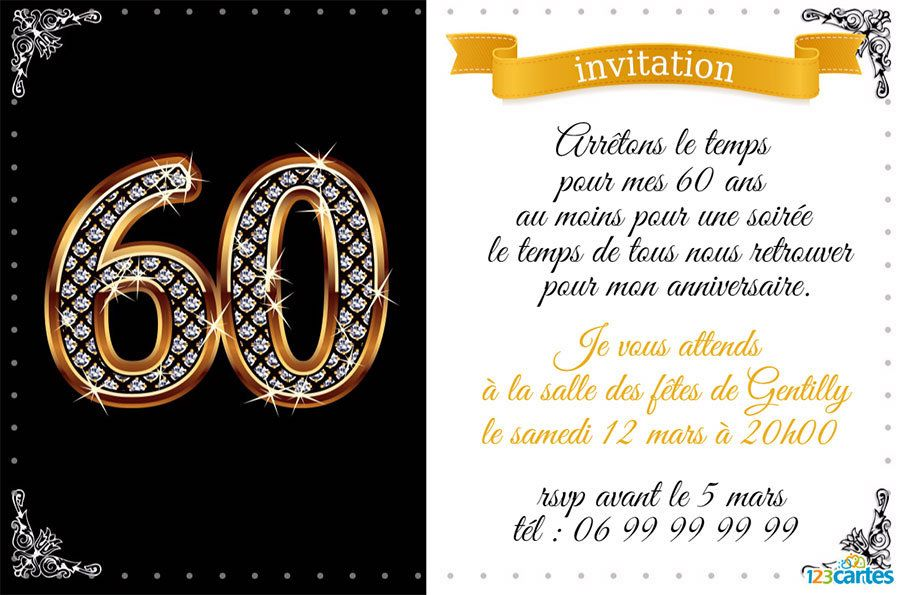 Invitation Anniversaire 60 Ans Diamants Invitation Anniversaire 60 Ans Invitation Anniversaire 40 Ans Carte Invitation Anniversaire Gratuite