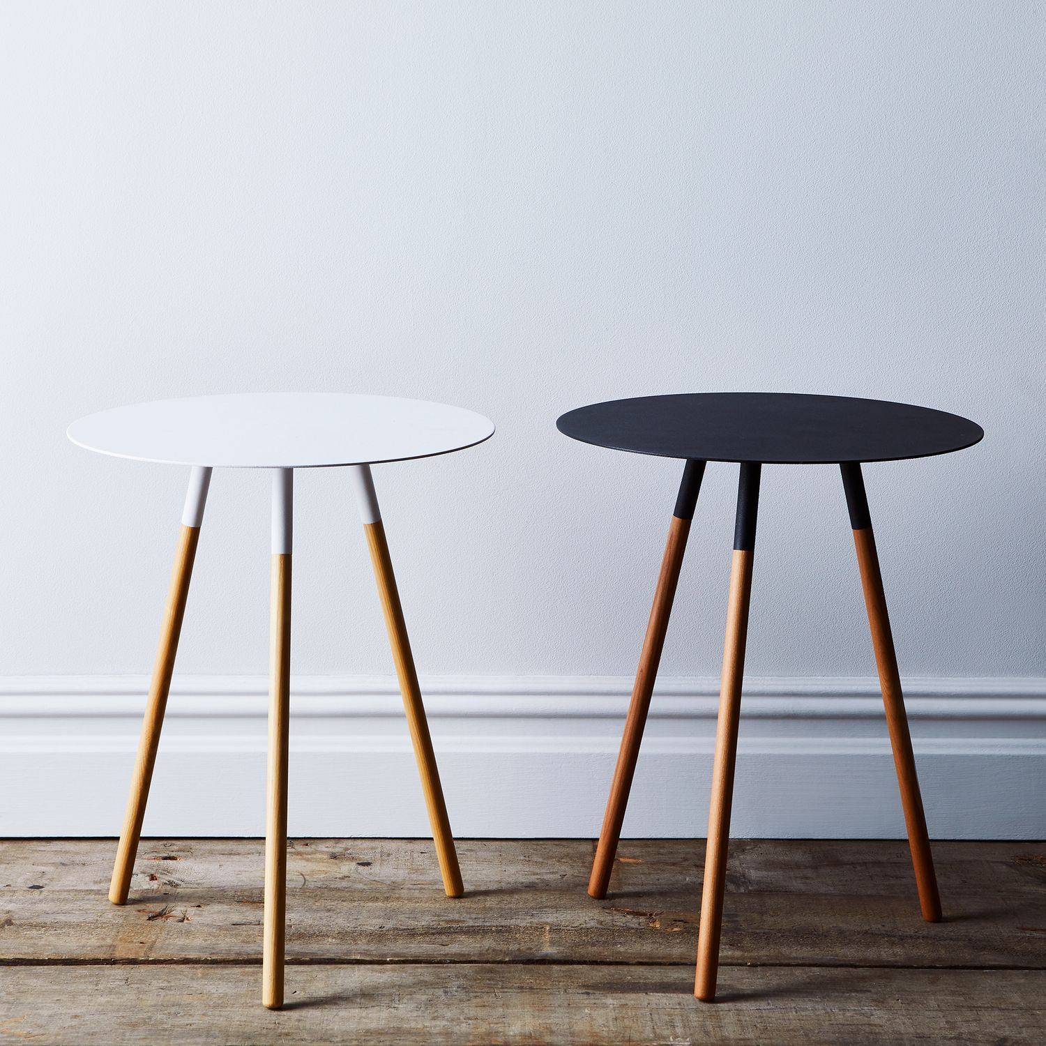 Steel Wood Round Side Table With