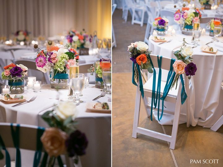 love the colorful flowers on the chairs and tables! ~  we ❤ this! moncheribridals.com
