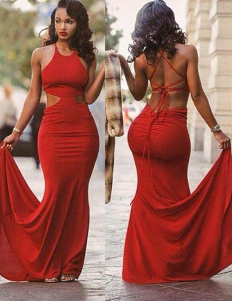 Mermaid jewel sweep train crisscross straps red prom dress prom