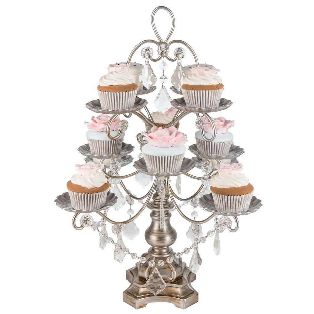 12 piece vintage crystal draped cupcake stand silver cupcake 12 piece crystal draped cupcake stand silver madeleine collection arubaitofo Image collections