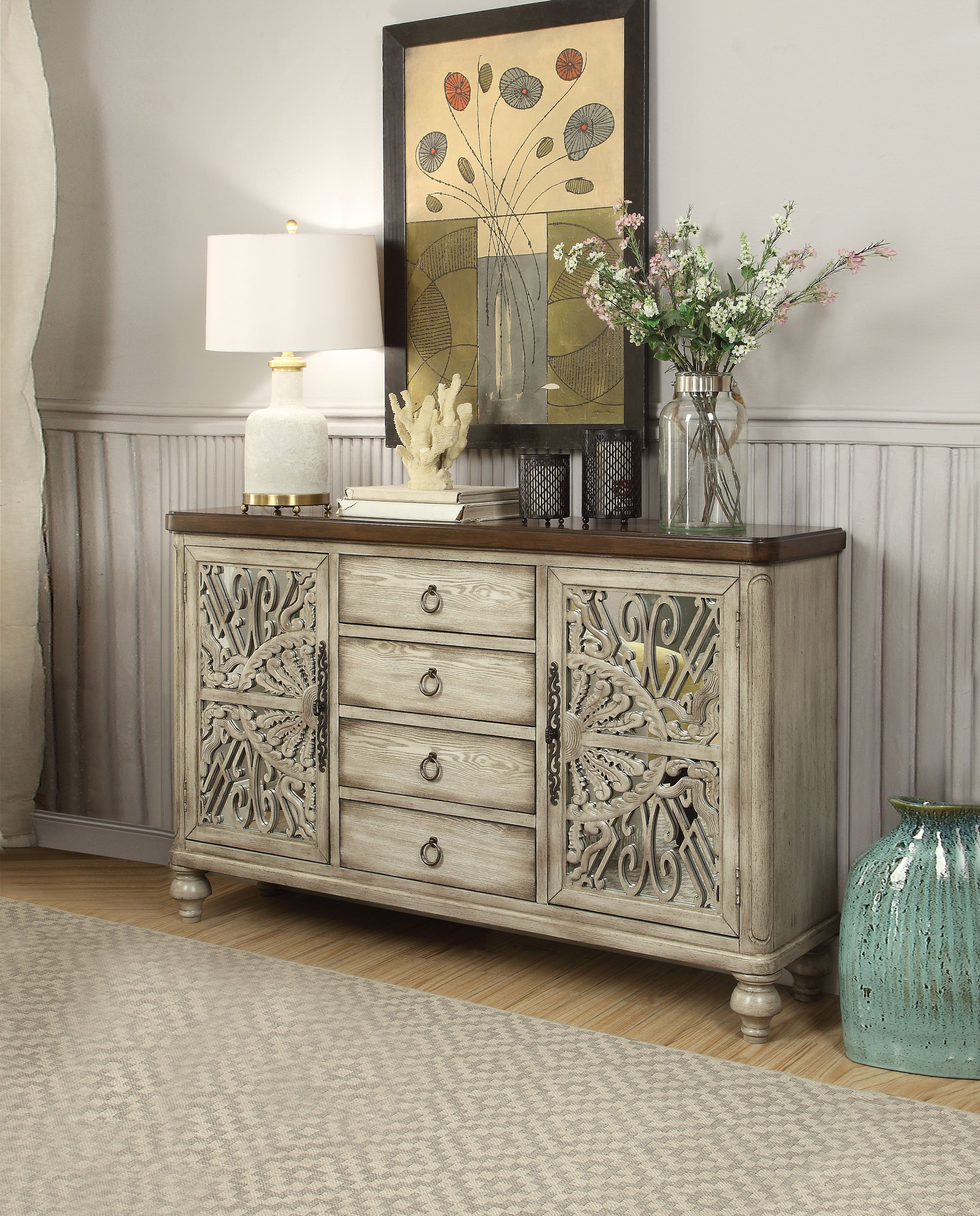 Vermont Console Table 2 Doors And 4 Drawers, Antique White