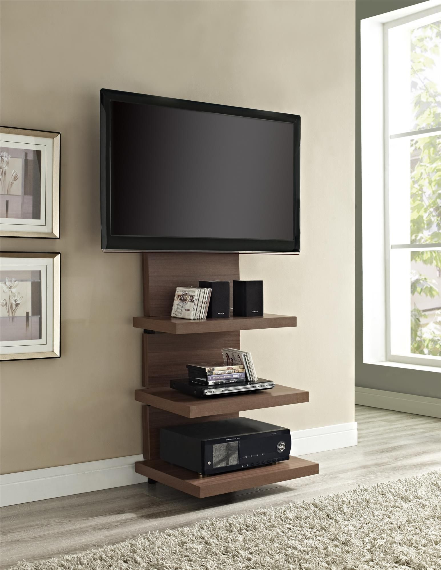 Furniture, Cool Custom Modern Vertical Wood TV Stands With Floating ...