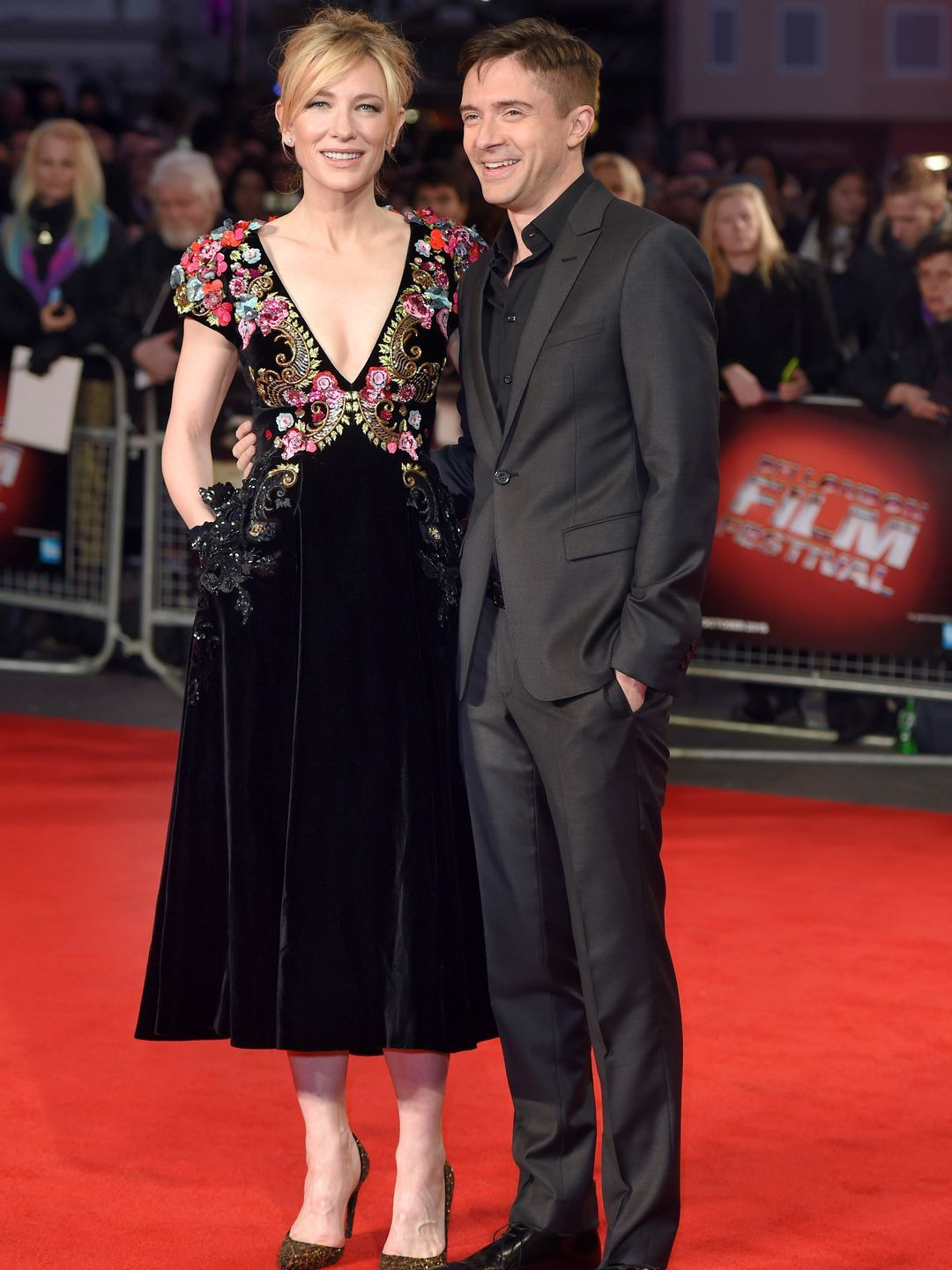 Cate Blanchett and Topher Grace attend a screening of 'Truth' during the BFI London Film Festival at Odeon Leicester Square on Oct. 17, 2015, in London.   Karwai Tang, WireImage