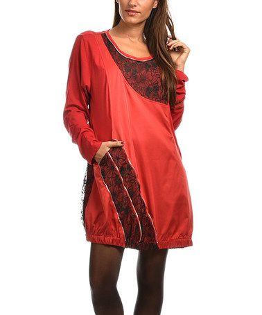 Look at this #zulilyfind! Red & Black Embroidered-Floral Shift Dress - Plus Too #zulilyfinds