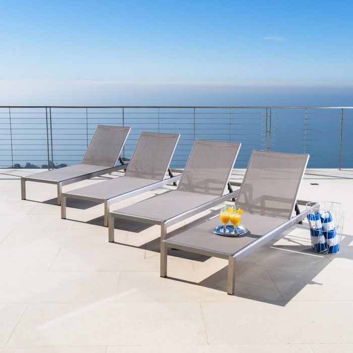 Royalston Mesh Sun Lounger Set Patio Chaise Lounge Pool