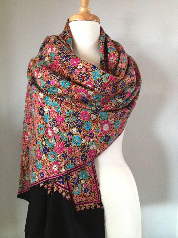 kashmiri shawls shawl hand embroidered embroidery indian pashmina suits pakistani designs scarf designer punjabi etsy papier mache merino handsome visit
