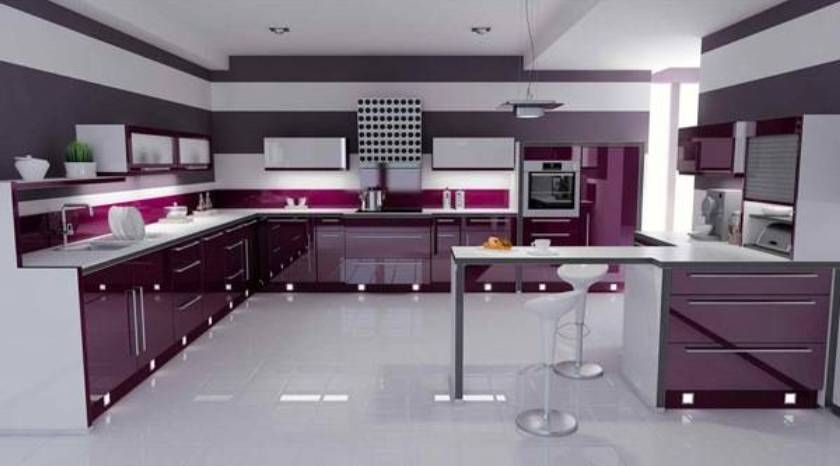 Gray+and+purple+kitchens | ... Purple Kitchen Take Fashionable Appearance