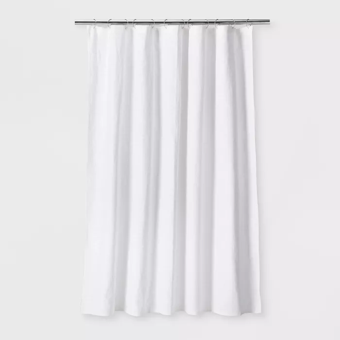 Woven Shower Curtain White Threshold In 2020 White Shower