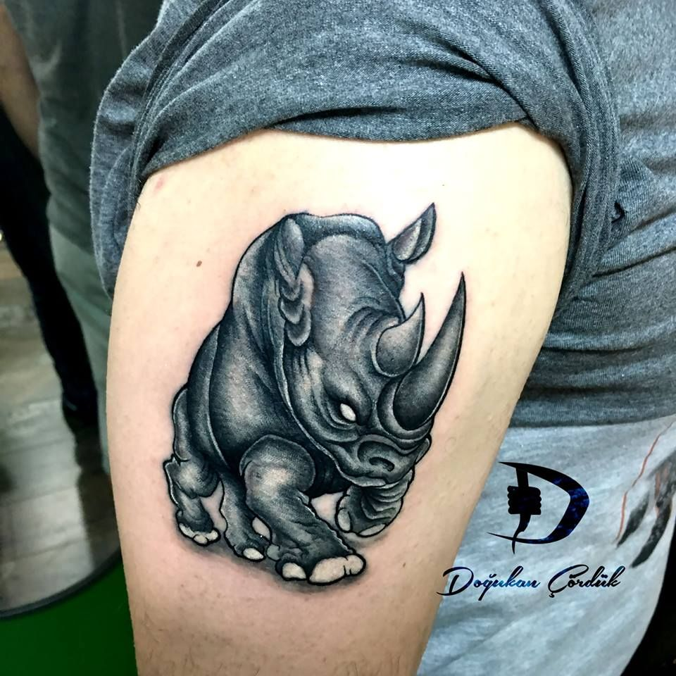 rhino tattoo tattorhino tattoos tattooart tattoolove tattoo rh pinterest co uk Angry Rhino Tattoo tribal rhino tattoo meaning