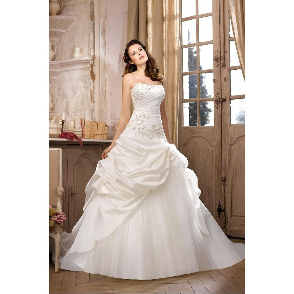 Strapless ball gown wedding dresses  Best Sell Ball Gown Unique Wedding Dresses Strapless Applique