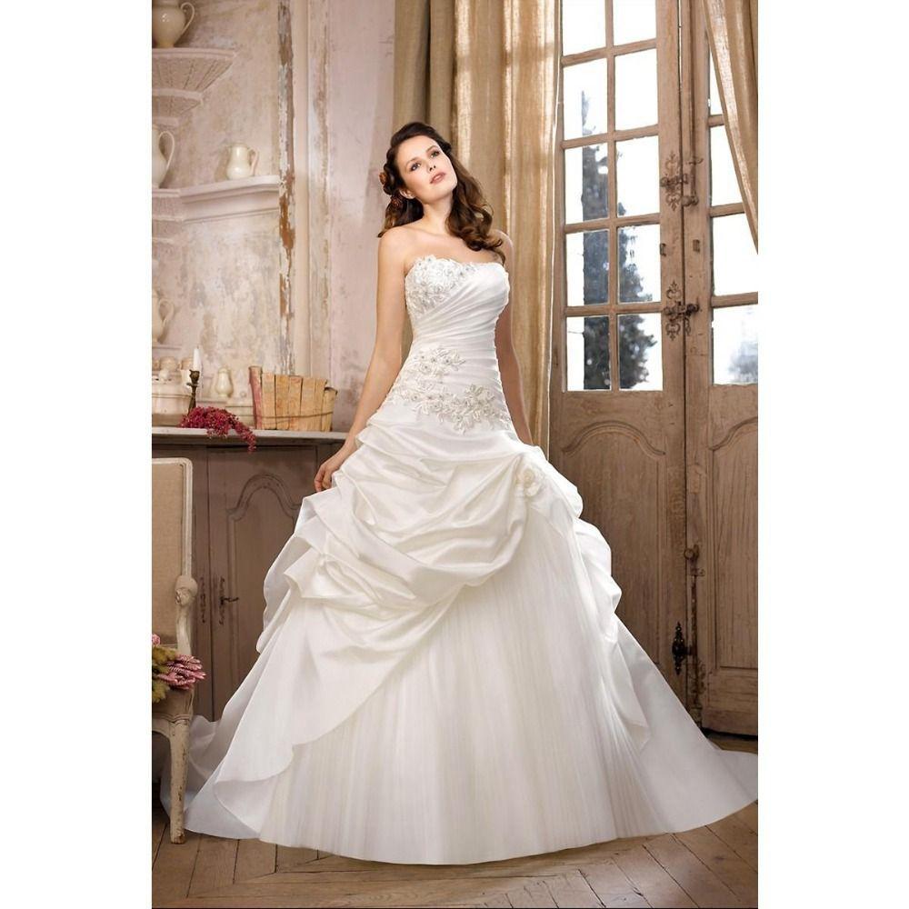 Cheap unique wedding dresses  Best Sell Ball Gown Unique Wedding Dresses Strapless Applique