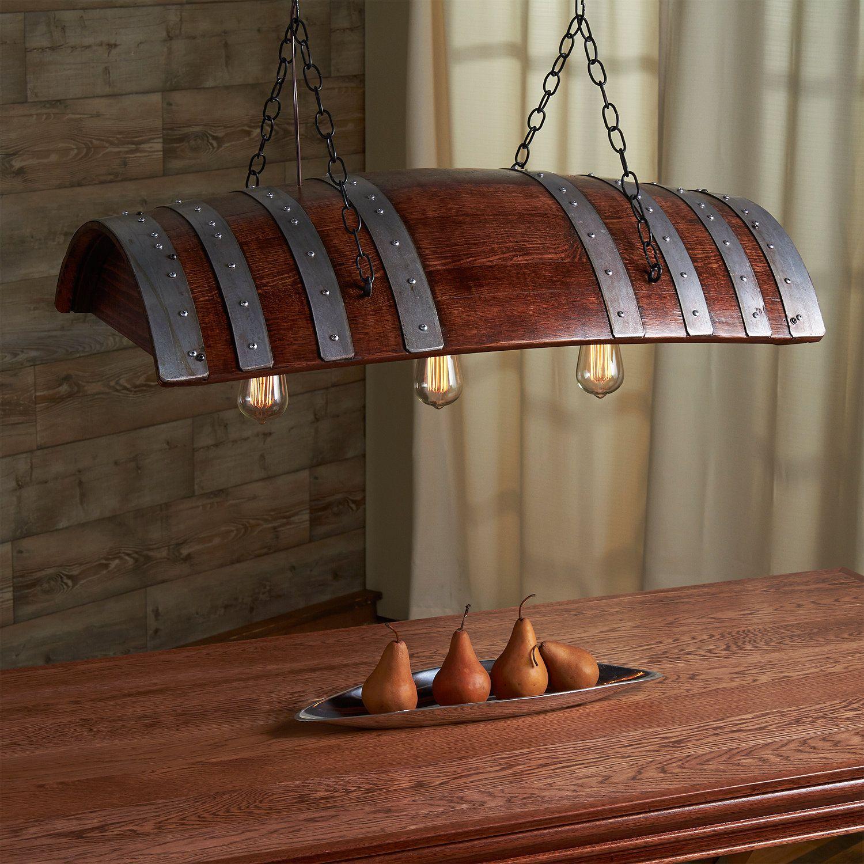 Shop custom wine barrel furniture tables and sets wine barrel - One Third Wine Barrel Hanging Light Wine Barrel Tablewine