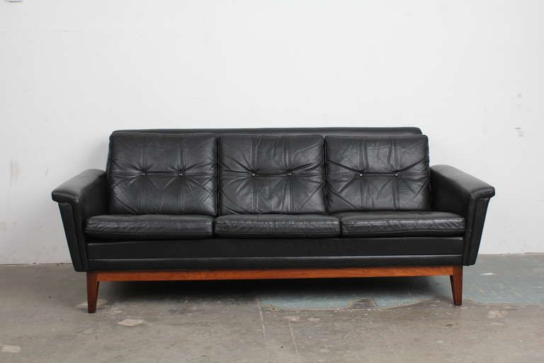 Vintage Black Leather Mid Century Modern Sofa With Rosewood Base