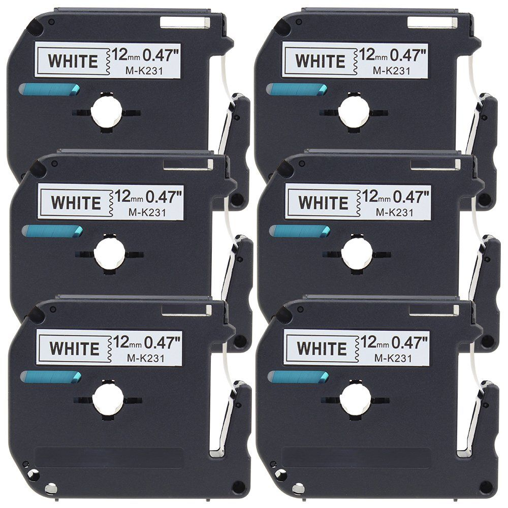 Fimax 6 Pack Compatible Brother Mk 231 Mk231 P Touch Label Tape 12mm 1 2 Inches 0 47 Quot Black On White Standard Tape Mk231 Compatibility Brother Labels