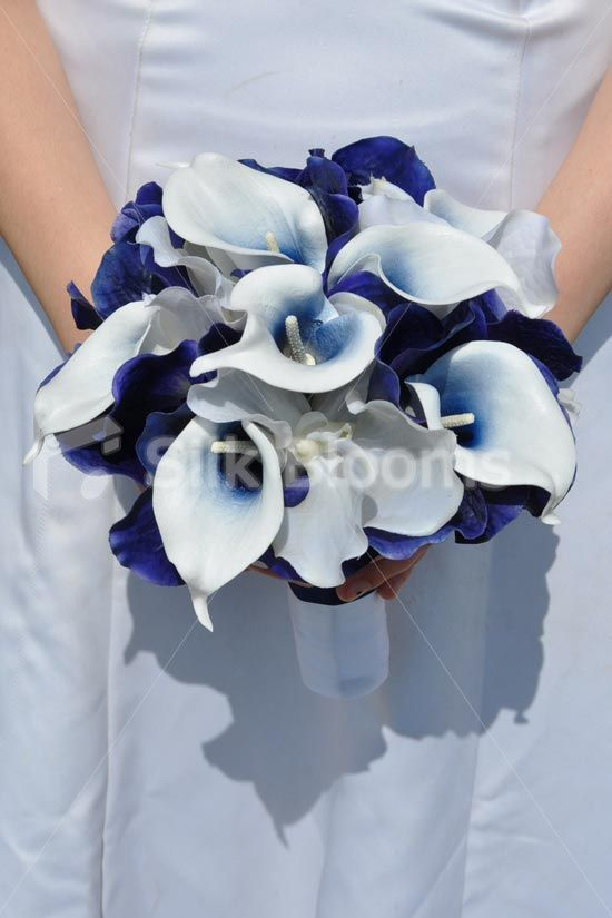Beautiful Midnight Blue Vanda Orchid And Vermeer Lily Bridal Bouquet