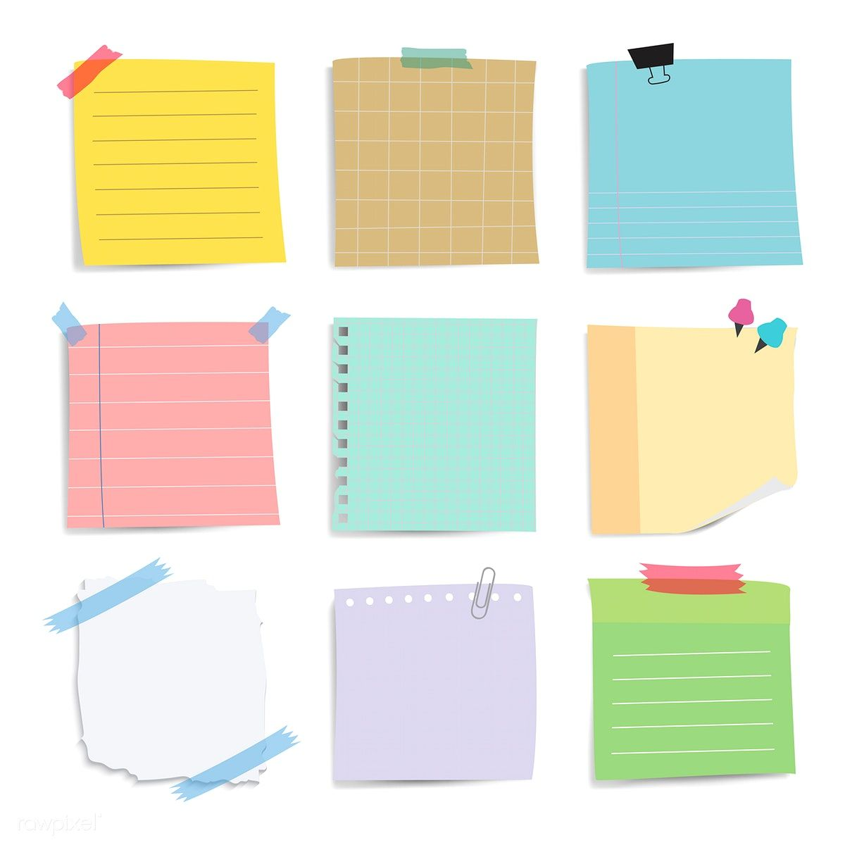 Download free vector of Colorful reminder paper notes vector set 524955