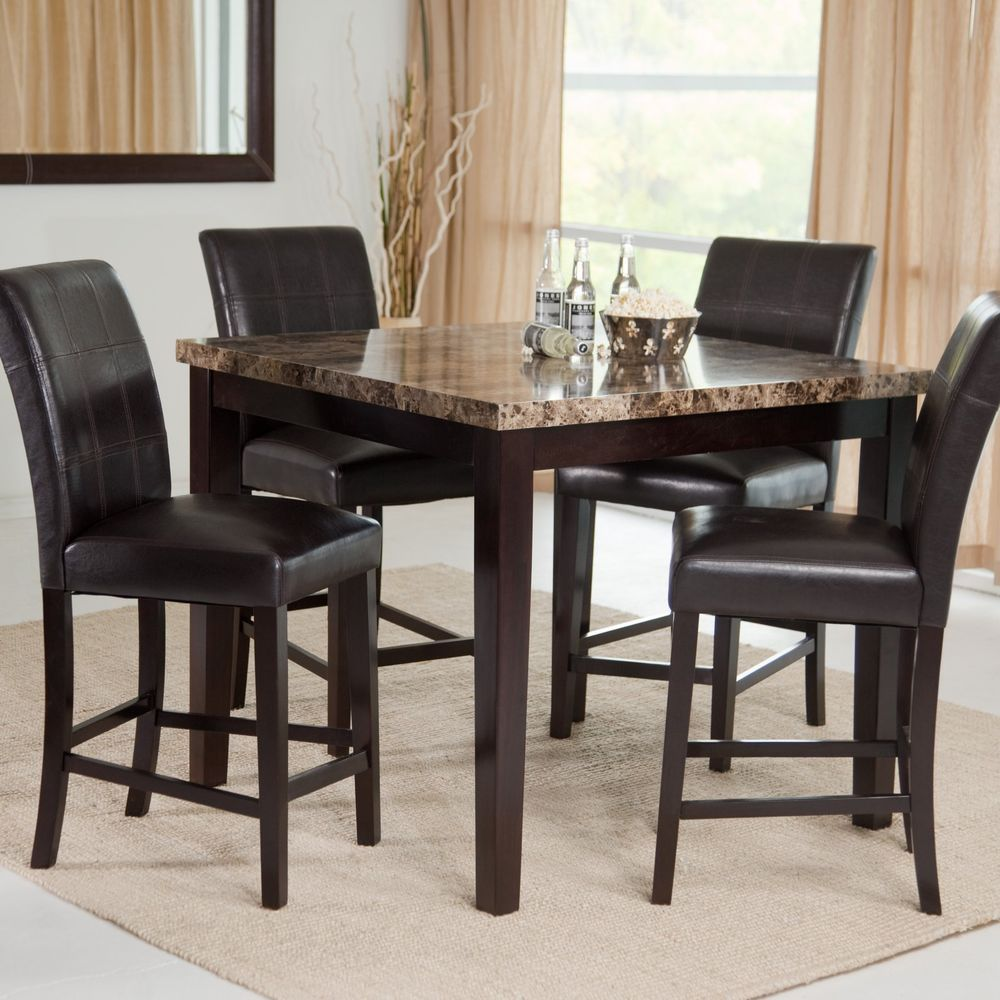 5 Piece Counter Height Dining Table Chairs Set Faux Marble Top