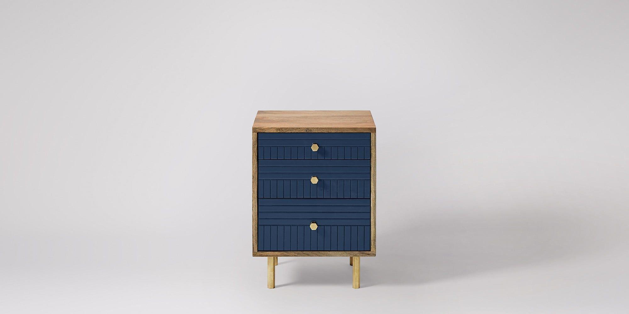 Laguna Natural Mango Wood U0026 Blue Bedside Table | Swoon Editions