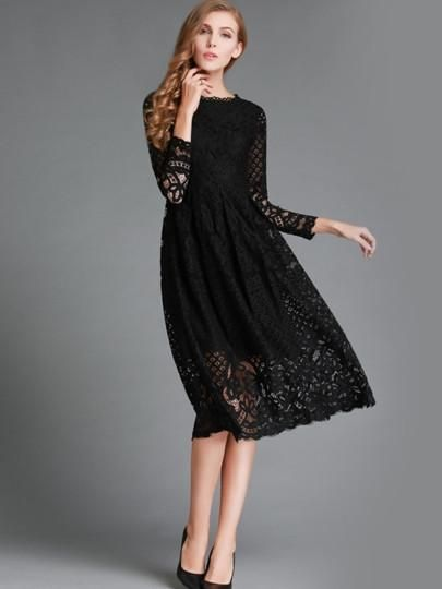 09603bc4f46a Gross Weight/Package: 0.40( kg ) Material: Lace Silhouette: A-Line Dress  Length: Mid-Calf Sleeve Length: Long Sleeve Sleeve Type: Regular Neckline:  Round ...