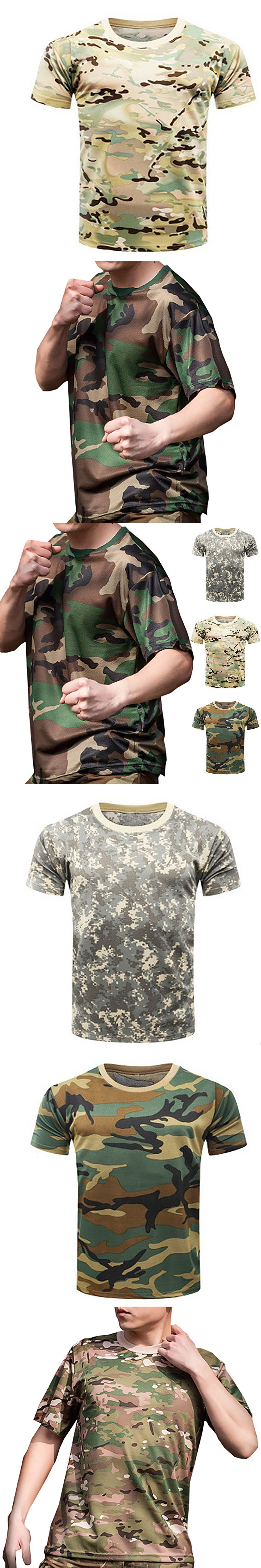 38e62ba1 New Camouflage T-shirt Men Breathable Army Tactical Combat T Shirt Military  Dry Camo Camp