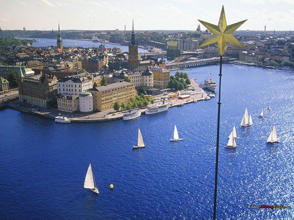 Sailing in the city centre of Stockholm