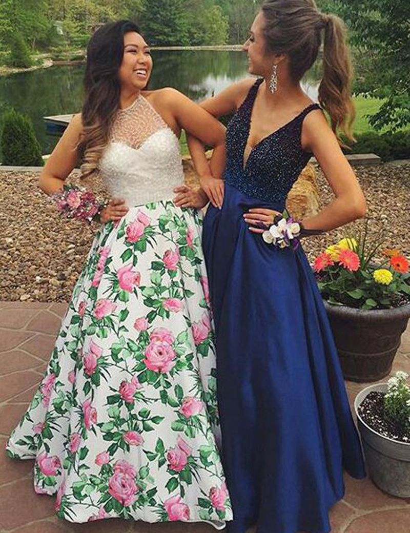 Stylish vneck sleeveless long royal blue prom dress with beading