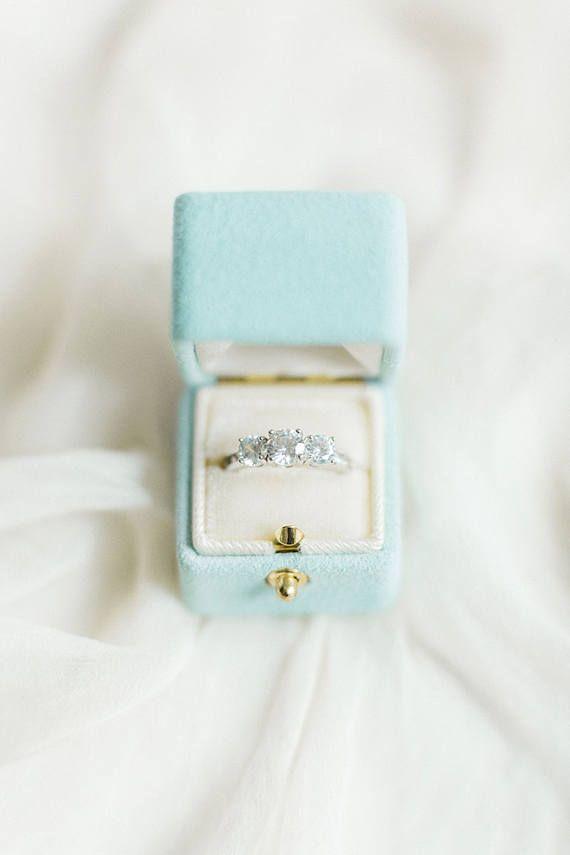 Ring Box Genuine Suede Velvet Vintage Style