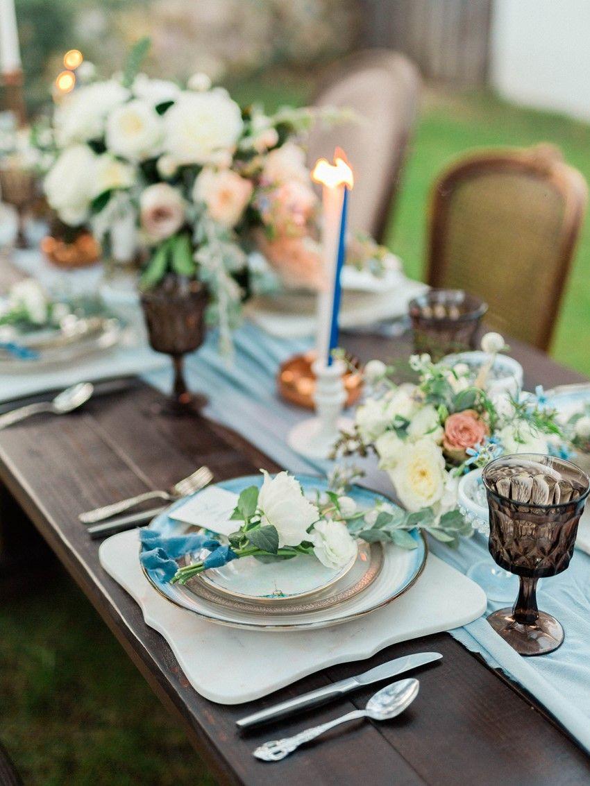 Blue u copper so cal winter wedding inspiration floral wedding and