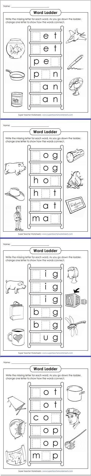 Word Ladder Worksheets Phonics Kindergarten Word Ladders Phonics Practice Word ladder worksheets
