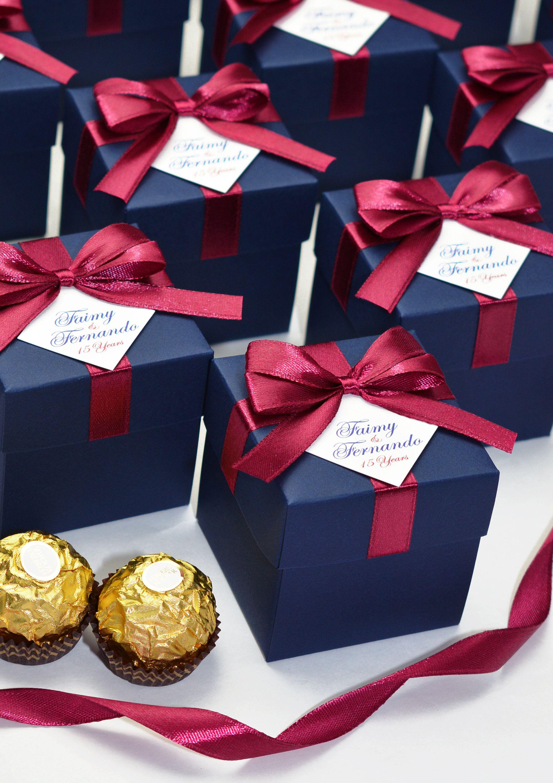 Navy Blue Burgundy Personalized Wedding Favor Box With Satin Etsy Personalized Wedding Favor Box Wedding Favor Boxes Wedding Favors