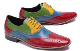 Men Multi Colors Brogue Toe Wing Tip Oxford Genuine Real Leather Shoes Us 7 16 Dress Shoes Men Shoes Cowboy Shoes
