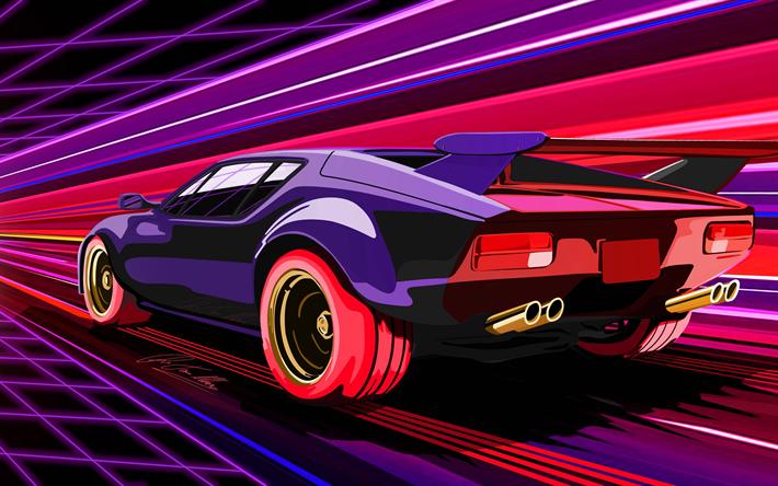 Download Wallpapers De Tomaso Pantera 4k Art Creative Supercars Besthqwallpapers Com Car Artwork Car Illustration Art Cars