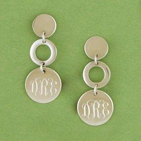 Monogrammed Round Dangle Earrings ($99)