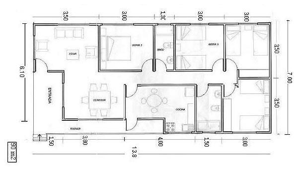 Planos de casas con medidas buscar con google for Planos de casa habitacion