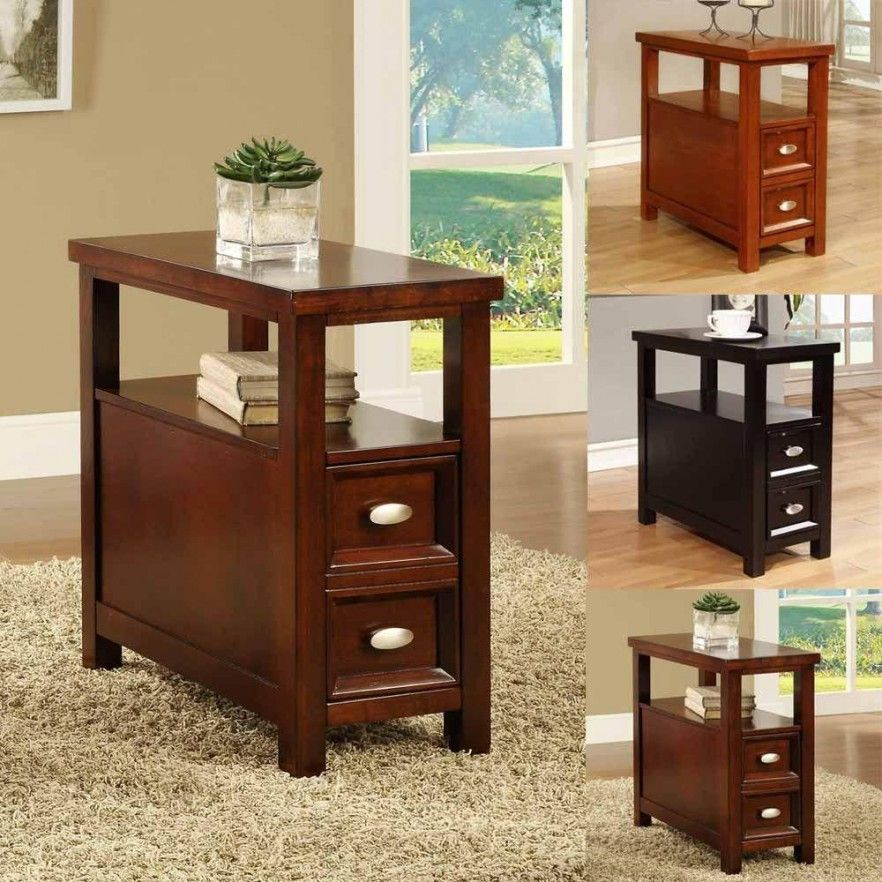 Bed and Bath, Wooden Narrow End Table With Drawers