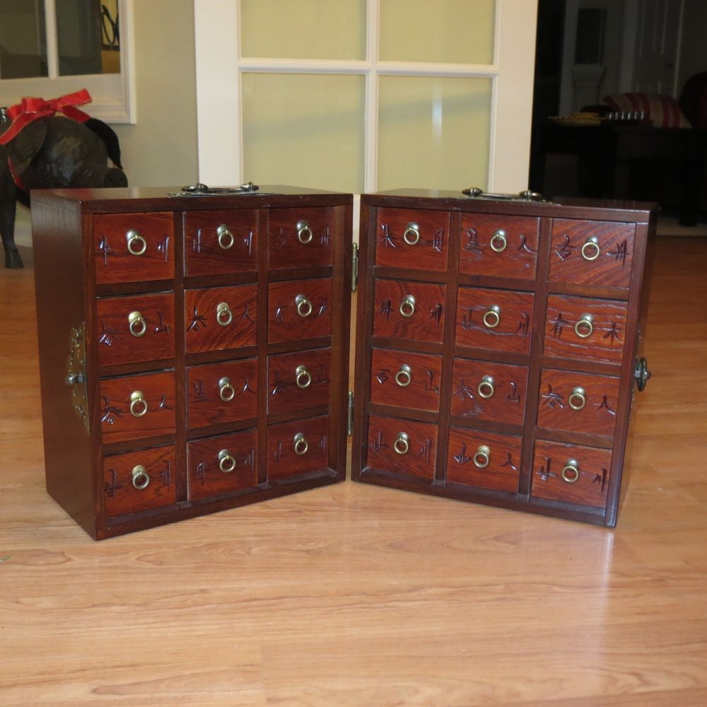 Chinese Wooden Apothecary Tea Chest Cabinet 24 Drawer