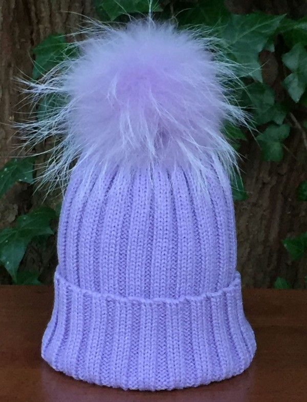 8740990d926 Ribbed Bobble Hat in Lilac with Detachable Lilac Fur Pom Pom ...